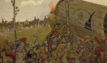 """Incluso la élite napoleónica huye y abandona los carros de munición en Waterloo. Ilustración de Job para el """"Napoleón"""" de Gerges Montorgueil. Ejemplar de La colección Reding"""