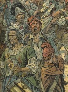 Sans-cullottes en ell París revolucionario Ilustración de Job para el Bonaparte de Georges Montorgueil.(1910) Ejemplar de La colección Reding 3